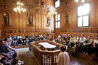Il Teatro Anatomico dell'Archiginnasio di Bologna.<br /> The Anatomy Theatre of the Archiginnasio in Bologna.<br /> UPDATE IMAGES PRESS/Riccardo De Luca
