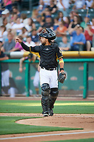 Francisco Arcia (10) of the Salt Lake Bees on defense against the New Orleans Baby Cakes at Smith's Ballpark on June 8, 2018 in Salt Lake City, Utah. Salt Lake defeated New Orleans 4-0.  (Stephen Smith/Four Seam Images)