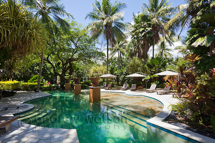 Swimming pool at Double Island Resort.  Palm Cove, Cairns, Queensland, Australia