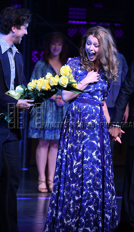 Melissa Benoit with Evan Todd during her Opening Night debut bows in 'Beautiful-The Carole King Musical' at the Stephen Sondheim on June 12, 2018 in New York City.