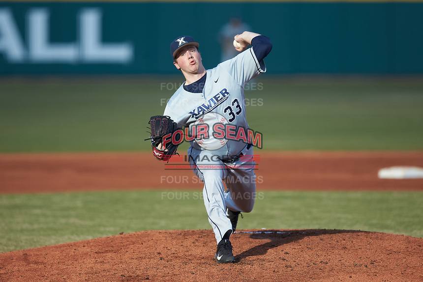 Xavier Musketeers starting pitcher Trent Astle (33) in action against the Penn State Nittany Lions at Coleman Field at the USA Baseball National Training Center on February 25, 2017 in Cary, North Carolina. The Musketeers defeated the Nittany Lions 7-5 in game two of a double header. (Brian Westerholt/Four Seam Images)