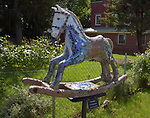 """A view of """"The Keltic"""" created by artist, Georgette Eagleson, one of the """"Rockin' Around Saugerties"""" theme Statues on display throughout the Village of Saugerties, NY, on Saturday, June 3, 2017. Photo by Jim Peppler. Copyright/Jim Peppler-2017."""