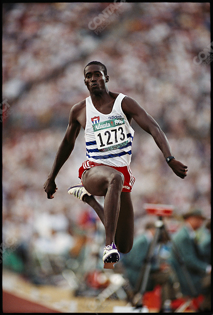 Triple jump, men, Cuban athlete. Summer Olympics, Atlanta, Georgia, USA, July 1996
