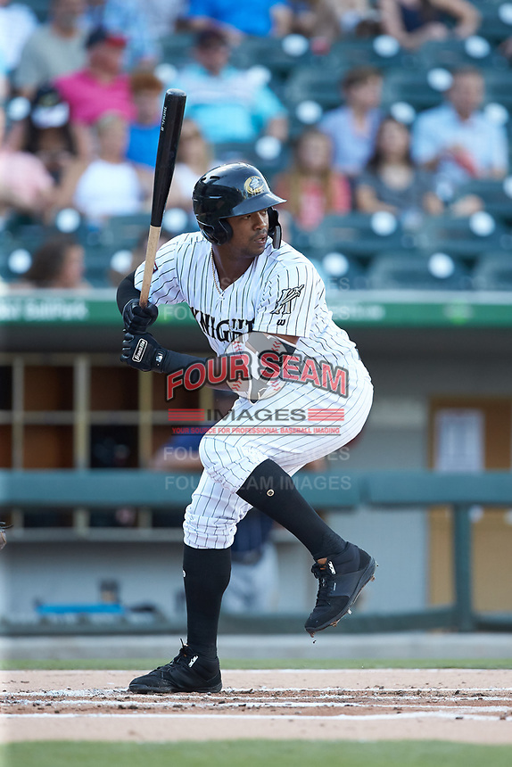 Eloy Jimenez (16) of the Charlotte Knights at bat against the Toledo Mud Hens at BB&T BallPark on June 22, 2018 in Charlotte, North Carolina. The Mud Hens defeated the Knights 4-0.  (Brian Westerholt/Four Seam Images)