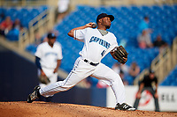 Lake County Captains relief pitcher Henry Martinez (46) delivers a pitch during the first game of a doubleheader against the West Michigan Whitecaps on August 6, 2017 at Classic Park in Eastlake, Ohio.  Lake County defeated West Michigan 4-0.  (Mike Janes/Four Seam Images)