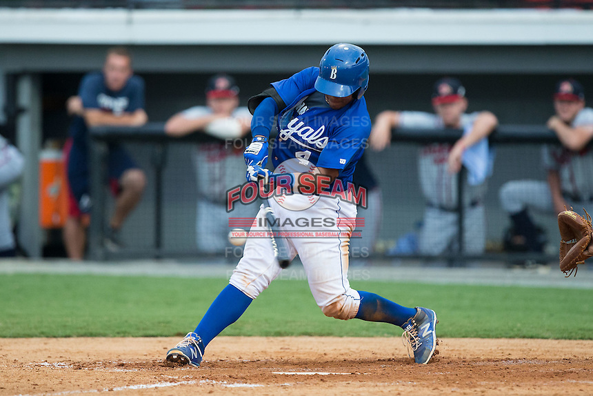 Meibrys Viloria (4) of the Burlington Royals makes contact with the baseball during the game against the Danville Braves at Burlington Athletic Park on July 12, 2015 in Burlington, North Carolina.  The Royals defeated the Braves 9-3. (Brian Westerholt/Four Seam Images)