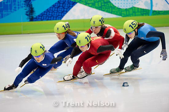 Trent Nelson  |  The Salt Lake Tribune.Ladies' 1500m Final, Short Track Speed Skating, at the XXI Olympic Winter Games in Vancouver, Saturday, February 20, 2010. Zhou Yang 114 gold medal, Lee Eun-Byul 140 silver medal, Park Seung-Hi 141 bronze medal, Katerine Reutter 157 usa, Cho Ha-Ri 137, Erika Huszar 124, Evgenia Radanova 104, Tania Vicent 109