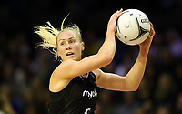 18.10.2018 Silver Ferns Laura Langman in action during the Silver Ferns v Australia netball test match at the TSB Arena in Wellington. Mandatory Photo Credit ©Michael Bradley.