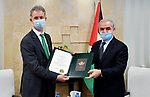 Palestinian Prime Minister Mohammad Ishtayeh, meets with Ireland's ambassador to Palestine Jonathan Conlon, in the West Bank city of Ramallah, on July 29, 2020. Photo by Prime Minister Office