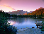 Bear Lake, summer, sunrise, Longs Peak, Rocky Mountain National Park, Colorado