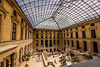 Cour Marly atrium of the Richelieu wing, Louvre Museum, Paris, France.