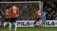 Garry Thompson of Wycombe Wanders scores the opening goal during the Sky Bet League 2 match between Luton Town and Wycombe Wanderers at Kenilworth Road, Luton, England on 26 December 2015. Photo by Liam Smith.