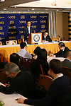 Takeshi Niinami, President & Chief Executive Officer of Suntory Holdings Ltd., speaks at the Foreign Correspondents' Club of Japan on January 15, 2016, in Tokyo, Japan. Niinami, who joined Suntory after leading convenience store group Lawson, laid out his goals for the Japanese whisky and beverage giant. Suntory is looking for further growth overseas as the Japanese market contracts, and Harvard educated Niinami, the first person from outside of the Suntory founding family to head the company, is seen as the right person for this task. (Photo by Yohei Osada/AFLO)