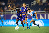 Orlando, FL - Saturday July 16, 2016: Jasmyne Spencer, Taylor Comeau during a regular season National Women's Soccer League (NWSL) match between the Orlando Pride and the Chicago Red Stars at Camping World Stadium.