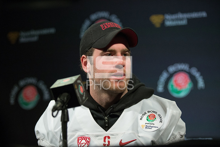 LOS ANGELES, CA - DECEMBER 29, 2015: The Stanford Cardinal addresses the media at the LA Hotel on Tuesday, December 29, 2015.