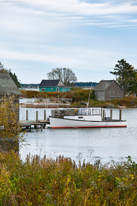 Lobster boat and shacks, Jonesport, Maine, ME, USA