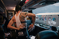 Koen de Kort (NED/Trek-Segafredo) getting ready on the teambus<br /> <br /> Stage 10: Annecy > Le Grand-Bornand (159km)<br /> <br /> 105th Tour de France 2018<br /> ©kramon