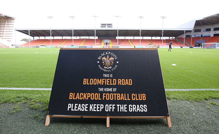 A general view of Bloomfield Road, home of Blackpool<br /> <br /> Photographer Stephen White/CameraSport<br /> <br /> The EFL Sky Bet League One - Blackpool v Portsmouth - Saturday 31st August 2019 - Bloomfield Road - Blackpool<br /> <br /> World Copyright © 2019 CameraSport. All rights reserved. 43 Linden Ave. Countesthorpe. Leicester. England. LE8 5PG - Tel: +44 (0) 116 277 4147 - admin@camerasport.com - www.camerasport.com