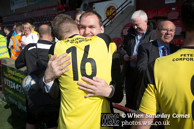 East Stirlingshire 0 Edinburgh City 1, 14/05/2016. Ochilview, Scottish League Pyramid Play Off. Visiting players celebrating promotion after East Stirlingshire hosted Edinburgh City in the second leg of the Scottish League pyramid play-off at Ochilview Park, Stenhousemuir. The play-offs were introduced in 2015 with the winners of the Highland and Lowland Leagues playing-off for the chance to play the club which finished bottom of Scottish League 2. Edinburgh City won the match 1-0 giving them a 2-1 aggregate victory making them the first club in Scottish League history to be promoted into the league. Photo by Colin McPherson.