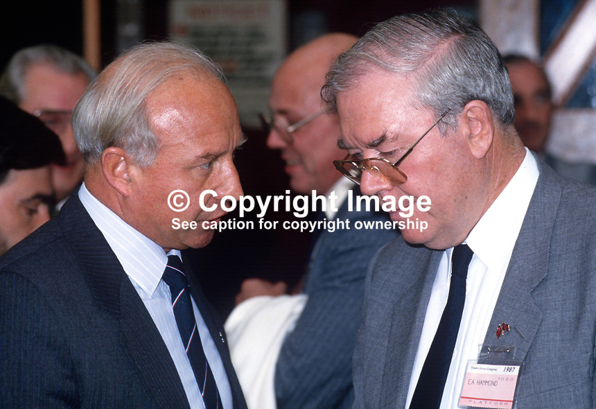 Gavin Laird, general secretary, AUEW, left, in conversation with fellow trade unionist, Eric Hammond, general secretary, EEPTU, at annual conference of the TUC, Trades Union Congress, UK, 19870917GL+EH.<br /> <br /> Copyright Image from Victor Patterson, 54 Dorchester Park, <br /> Belfast, UK, BT9 6RJ<br /> <br /> t1: +44 28 9066 1296 (from Rep of Ireland 048 9066 1296)<br /> t2: +44 28 9002 2446 (from Rep of Ireland 048 9002 2446)<br /> m: +44 7802 353836<br /> <br /> e: victorpatterson@me.com<br /> www.victorpatterson.com<br /> <br /> Please see my Terms and Conditions of Use at www.victorpatterson.com. It is IMPORTANT that you familiarise yourself with them.<br /> <br /> Images used on the Internet must be visibly watermarked i.e. &copy; Victor Patterson<br /> within the body of the image and copyright metadata must not be deleted. Images <br /> used on the Internet have a size restriction of 4kbs and will be chargeable at current<br />  NUJ rates unless agreed otherwise.<br /> <br /> This image is only available for the use of the download recipient i.e. television station, newspaper, magazine, book publisher, etc, and must not be passed on to any third <br /> party. It is also downloaded on condition that each and every usage is notified within 7 days to victorpatterson@me.com<br /> <br /> The right of Victor Patterson to be identified as the author is asserted in accordance with The Copyright Designs And Patents Act (1988). All moral rights are asserted