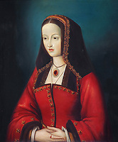 Portrait of Juana I of Castile, 1479-1555, copy by M Vittoz, Flemish painter, of an original painting, in the Sala de Audiencias of the Museo de las Casas Reales, or Museum of the Royal Houses, in the Colonial Zone of Santo Domingo, capital of the Dominican Republic, in the Caribbean. The museum was opened in 1973 to celebrate the history and culture of the Spanish inhabitants of the colony, and is housed in a 16th century colonial palace originally serving as governor's office and Audiencia Real or Royal Court. Santo Domingo's Colonial Zone is listed as a UNESCO World Heritage Site. Picture by Manuel Cohen