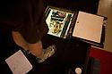 Preparing the scene of the play L'Universo, molto probabilmente (The Universe, almost certainly) at Oscar theatre in Milan, June 6, 2010. © Carlo Cerchioli..Allestendo la scena della commedia L'Universo, molto probabilmente al teatro Oscar a Milano.