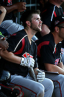 Michael Gettys (23) of the Lake Elsinore Storm in the dugout during a game against the Inland Empire 66ers at San Manuel Stadium on July 31, 2016 in San Bernardino, California. Inland Empire defeated Lake Elsinore, 8-7. (Larry Goren/Four Seam Images)