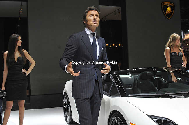 Lamborghini CEO Stephan Winkelmann delivers a speech during the Lamborghini presentation at the Detroit Auto Show in Detroit, Michigan on January 11, 2009.