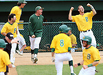 SIOUX FALLS, SD - MAY 24:  NDSU bench celebrates a grand slam by John Skrbec #11 in the first inning of the 2014 Summit League Baseball Championship game Saturday afternoon at the Sioux Falls Stadium. (Photo by Dave Eggen/Inertia)