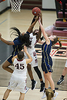 NWA Democrat-Gazette/BEN GOFF @NWABENGOFF<br /> Shania WIlson (from left) of Bentonville West, Marquesha Davis of Springdele and Alli Clifton of Bentonville West jump for a rebound Friday, Jan. 12, 2018, in Bulldog Arena at Springdale High.
