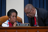 United States Representative Shiela Jackson Lee (Democrat of Texas) listens during the United States House Committee on the Judiciary hearing with constitutional law experts Noah Feldman, of Harvard University, Pamela Karlan, of Stanford University, Michael Gerhardt, of the University of North Carolina, and Jonathan Turley of The George Washington University Law School on Capitol Hill in Washington D.C., U.S. on Wednesday, December 4, 2019.<br /> <br /> Credit: Stefani Reynolds / CNP