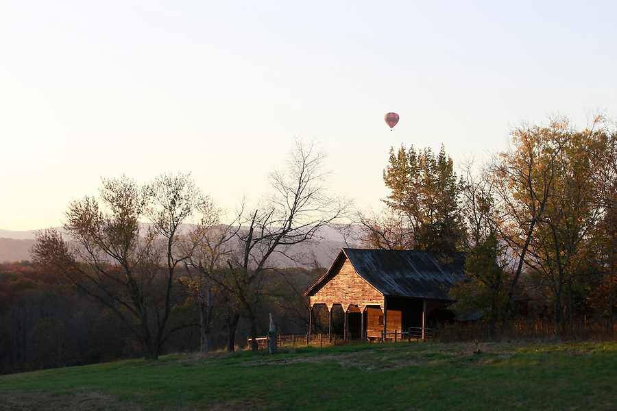 Balloon over farm in Albemarle County, VA. Photo/Andrew Shurtleff