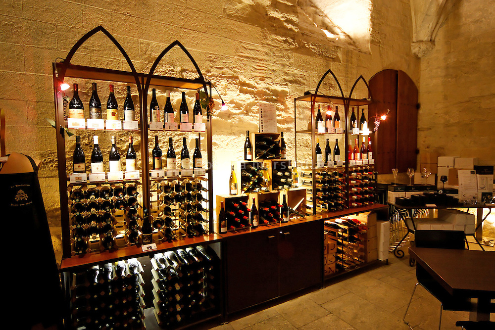 Wine cellar where tasting takes place at the Le Palais des Papes, Avignon, Provence, France, 22 February 2009