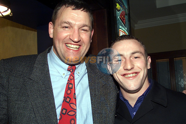 Leo Monahan, Julianstown and Kevin Casey, Balbriggan, pictured enjoying the Boyne rugby dinner dance in the Bridgeford..pic:Arthur Carron/ Newsfile