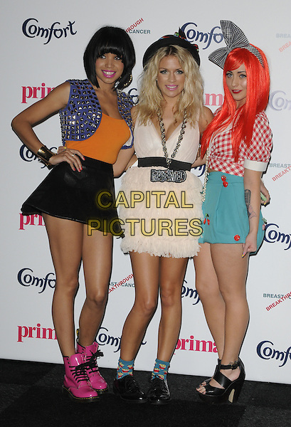 BELLE AMIE - ESTHER CAMPBELL, SOPHIE WARDMAN & REBECCA CREIGHTON.Prima High Street Fashion Awards, Battersea Evolutions, Battersea Park, London, England..September 8th, 2011.full length black skirt orange top purple cropped jacket pink dress blue teal turquoise gingham top bow hair ribbon band group hand on hip.CAP/CAN.©Can Nguyen/Capital Pictures.