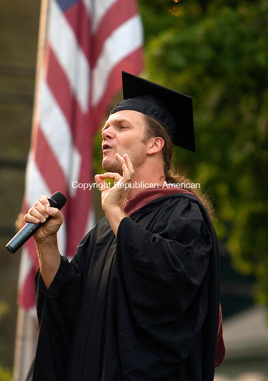WINSTED, CT- MAY 27, 2010-052710JS16-Poet and author Taylor Mali was the keynot espeaker during graduation ceremonies for Northwest Connecticut Community Technical College at East End Park in Winsted on Thursday. <br /> Jim Shannon Republican-American