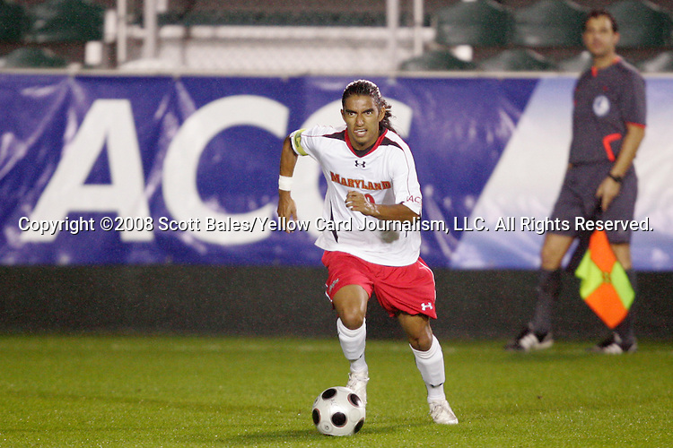14 November 2008: Maryland's A.J. Delagarza. The University of Maryland defeated Boston College 1-0 at WakeMed Stadium at WakeMed Soccer Park in Cary, NC in a men's ACC tournament semifinal game.