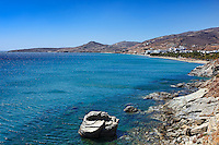 Rock formations before Kionia beach in Tinos island, Greece