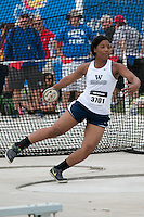 Lee's Summit West freshman Makayla Kelby spins in the ring on her way to a fourth-place finish in the discus throw with a best of 144-02 at the 2015 Kansas Relays.