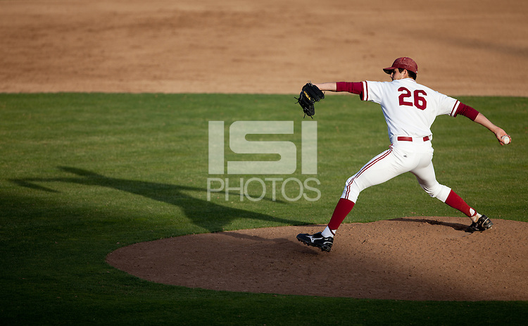 STANFORD, CA - May 10, 2011: Mark Appel of Stanford baseball pitches during Stanford's game against Arizona at Sunken Diamond. Stanford won 1-0.