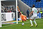 15.02.2020, PreZero-Arena, Sinsheim, GER, 1. FBL, TSG 1899 Hoffenheim vs. VFL Wolfsburg, <br /> <br /> DFL REGULATIONS PROHIBIT ANY USE OF PHOTOGRAPHS AS IMAGE SEQUENCES AND/OR QUASI-VIDEO.<br /> <br /> im Bild: Oliver Baumann (TSG Hoffenheim #1) gegen Admir Mehmedi (#14, VfL Wolfsburg)<br /> <br /> Foto © nordphoto / Fabisch