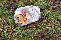 Discarded Stella Artois beer can, Oxfordshire, The Cotswolds,  United Kingdom
