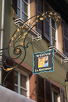 wrought iron sign wistub la krutenau colmar alsace france