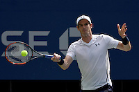 Andy Murray in action against Kei Nishikori in the Men's Quarter-Finals of the US Open 2016 at the Billie Jean King National Tennis Centre, Queens, New York on the 7th September 2016