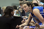 26 February 2012: Duke head coach Joanne P. McCallie (left) checks on Duke's Haley Peters (right) after Peters returned to the game in the second half with stitches in her mouth. The Duke University Blue Devils defeated the University of North Carolina Tar Heels 69-63 at Carmichael Arena in Chapel Hill, North Carolina in an NCAA Division I Women's basketball game.