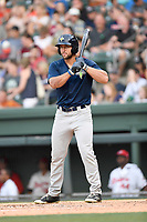 Left fielder Tim Tebow (15) of the Columbia Fireflies bats in a game against the Greenville Drive on Wednesday, June 14, 2017, at Fluor Field at the West End in Greenville, South Carolina. Columbia won, 6-2, in 11 innings. (Tom Priddy/Four Seam Images)
