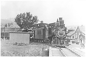 Head-on view of D&amp;RGW #318 at Gato with combine #215 being coupled to engine #317 which has just been delivered after shopping.<br /> D&amp;RGW  Gato (Pagosa Junction), CO  Taken by Moedinger, William - 1933