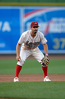 Great Lakes Loons third baseman Luke Heyer (16) during a Midwest League game against the Clinton LumberKings on July 19, 2019 at Dow Diamond in Midland, Michigan.  Clinton defeated Great Lakes 3-2.  (Mike Janes/Four Seam Images)