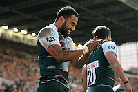 Telusa Veainu of Leicester Tigers celebrates scoring a try. Aviva Premiership match, between Leicester Tigers and Wasps on November 1, 2015 at Welford Road in Leicester, England. Photo by: Patrick Khachfe / Onside Images