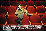 Playwright David Henry Hwang in 2003 in the Virgina Theater during the run of Flower Drum Song. Photo by Lia Chang
